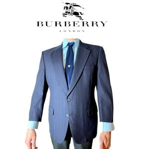 Burberry Navy Blue Pinstripe Suit Jacket